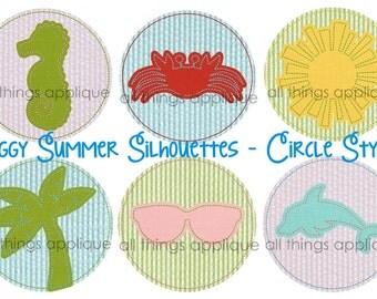 Summer Silhouette Set Applique Designs - Circle & Scallop - 12 Designs - 4 Sizes - INSTANT DOWNLOAD