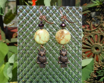 Owl and Moon copper beaded earrings