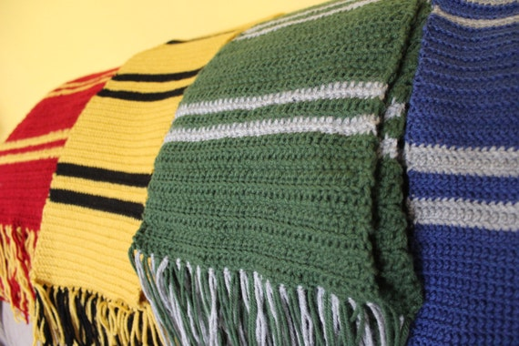 sized harry potter hogwarts house scarf all by arieswings