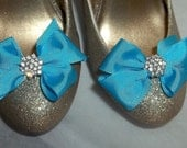 Cute Chic Style Shoe Clips -Ocean Blue -Crystal Rhinestones - set of 2 bridal wedding special occasion shoe clips for shoes
