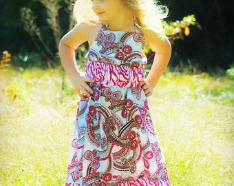 Maxi Dress Sewing Pattern for Girls, Spring Dress, Pdf Pattern, Emma Ruffled Maxi Dress
