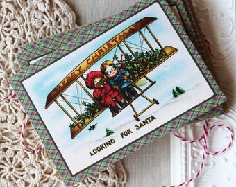 Christmas Note Cards- Vintage Kids in Airplane-Looking for Santa- Set of 20