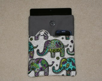 IPad cover, case, sleeve, padded, 2 pockets-Turquoise, Teal, Purple, Grey Elephants - iPad Air - iPad 2 - iPad 3