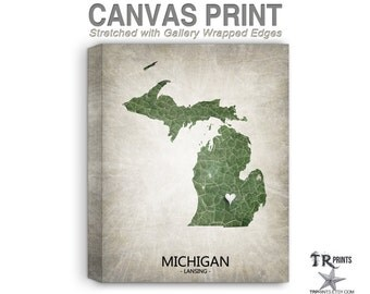 Michigan Map Stretched Canvas Print - Home Is Where The Heart Is Love Map - Original Personalized Map Print on Canvas
