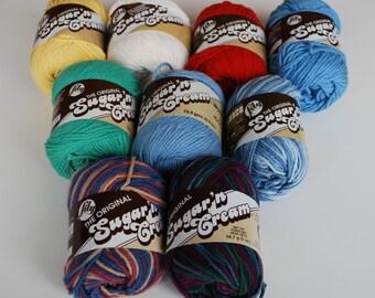 Lily Sugar'n Cream Cotton Yarn Colors 9 skeins