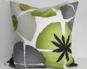 Green, Grey, Charcoal Robert Allen at Home, Pinwheel Petals Pillow Cover, Pure Petals Collection Throw Pillow Cover, Green, Cushion, 20 x 20