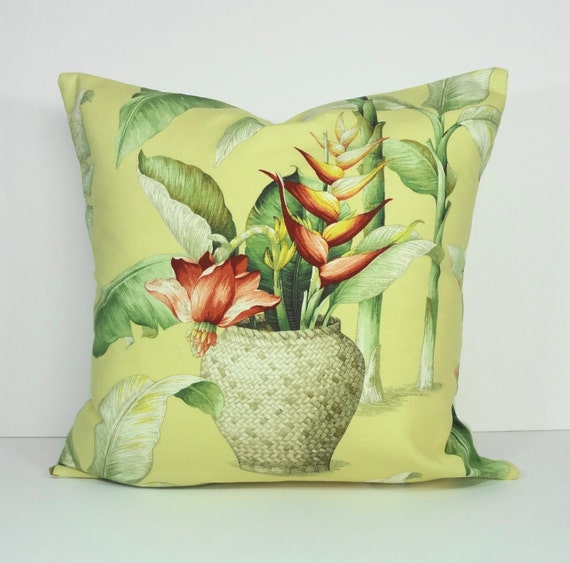Tropical Decorative Pillow Cover Yellow Cushion Cover 20 x