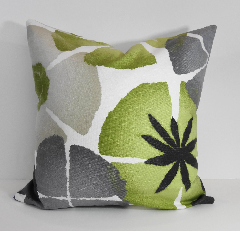 Green Grey Charcoal Robert Allen at Home Pinwheel Petals