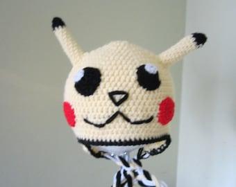 Crochet  pikachu earflap  hat