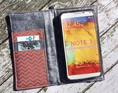 Samsung Galaxy Note, Galaxy Plus,, iPhone Plus wallet with removable gel case - coral and silver chevron