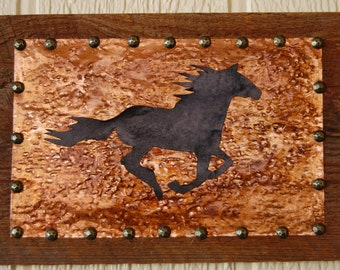 Rustic Wood Horse Wall Hanging, Copper, Western Horse Wall Hanging, Repurposed Old Wood