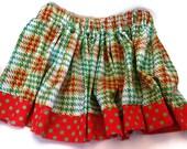 3T Christmas Twirl Skirt : plaid and polka dot