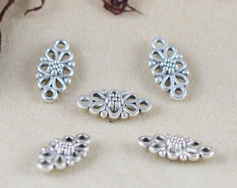 Connector Charms -50pcs Antique Silver Flower Necklace Connector Charm Pendants 8x16mm AA108-2