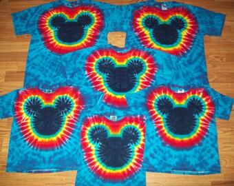 Tie Dye Mickey, S M L XL 2X 3X 4X 5X 6X, Kids, Adult, Plus Size tie dye Shirt, Mouse tie dye