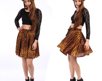 Mini LEOPARD Skirt . Flare A Line Animal Print Skater Mini Circle Full High Waisted Fitted Waist Bohemian Boho Skirt  . sz Small to Medium