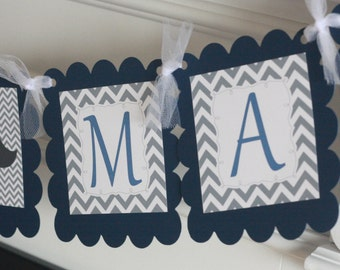 "Navy Blue and Grey Chevron - ""Little Man"" or ""Its a Boy"" Mustache Baby Shower Banner - Ask About Party Pack Specials"