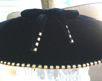 Vintage Black Velvet Hat  With Bow And Copper Gold Brass Fixings Studs Midcentury