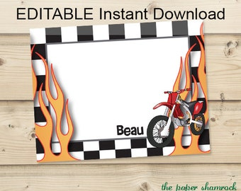 EDITABLE Instant Download - Motorcycle - Kids Thank you Cards, Printable Thank you Cards for Kids, Personalized Note Cards for Kids