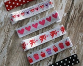 Set of 6 Hair Clips, Valentine's Day, Hearts, Cupid, Polka Dot, Birthday Party Favor, Hair Clips, Girls Hair Accessories, Hairbows - SaraOlsenDesigns