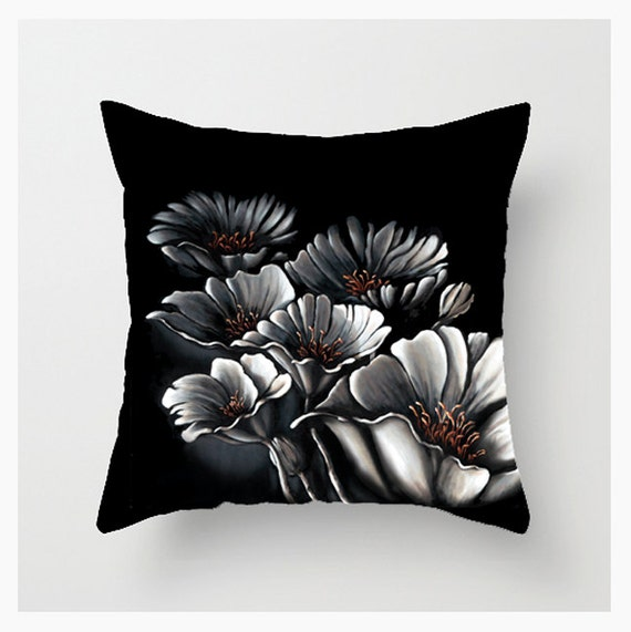 16x16 Decorative Pillow Covers : Throw Pillow Cover White Poppies 16x16 18x18 20x20 Home