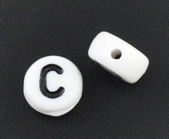Alphabet Beads Letter C, Black and White 7mm flat