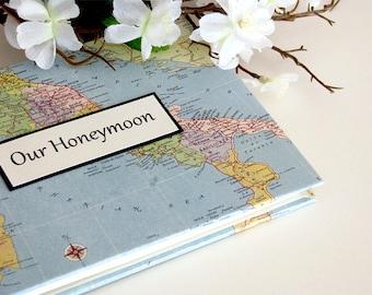 """Honeymoon Travel Journal / Photo Album with Custom Map, 5""""x7"""""""
