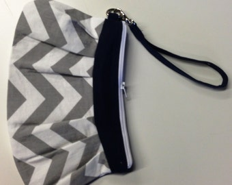 Canvas Wristlet | Pleated Clutch | Grey and White Chevron with Navy | Zippered Wristlet | Phone Clutch | Gift for Her  | Chevron Clutch