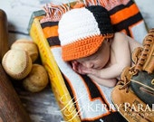 Crocheted baby baseball hat Baltimore Orioles or any team any color