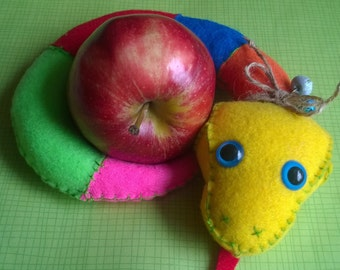 Plush Rainbow Snake Stuffed Animal Softie Cute Yellow Red Blue Green Pink Plushie Gift Ooak Mad Soft Toy Hand-sewn