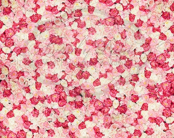 6ft x 6ft Vinyl Photography Backdrop / Bed of Roses Multi Colored