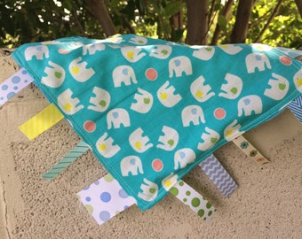 SALE Spinning Elephants on blue Tag Blanket your choice of minky color // In Stock, Ready to Ship
