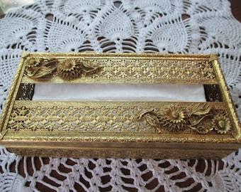 Vintage Ornate Filigree Tissue Box Holder