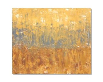 Abstract 1145 | Original Fine Art by Crystal Henson | Horizon Abstract Landscape Acrylic Painting in Ochre, Yellow, and Grey