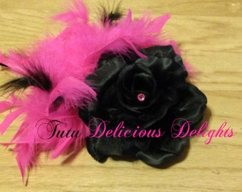 Elegant Black Flower With Hot Pink Feathers Hairpiece