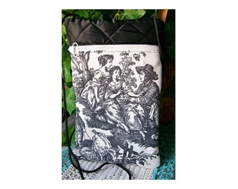 Black and White Toile CROSS BODY BAG - Quilted top - Kindle E Reader Case Nook Ipad Tablet Hip Bag Hipster