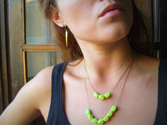 Neon Green Beaded Necklace - multi strand