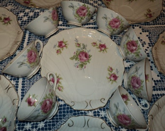 ROSEBUD WAS A SLED! 8 Teacup and Plate Sets, Hand Painted Rosebud floral designs on china cups and buffet plates with scalloped edge finish