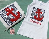 Red Anchor Summer Time Nautical Theme Red White Blue Tank Top No Sleeve Shirt