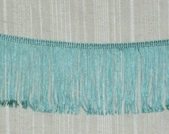 "Fringe Trim Retro Aqua Blue Seafoam Green 4"" Polyester Chainette Fringe~By the Yard"
