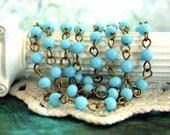 5 Feet Beaded Chain, Glass Bead Chain, Chain, Brass Chain, Bead Chain, Rosary Chain, Jewelry Chain CHN-020
