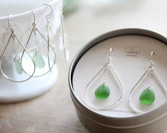sea Glass & Sterling Silver Peacock Earrings - Emerald