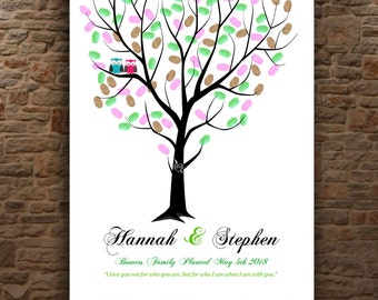 Wedding Guestbook Tree | Guestbook for 200-250 Guests | Wedding Tree Guest Book | GUEST SIGN IN | personalized tree print 20x30 num. 146