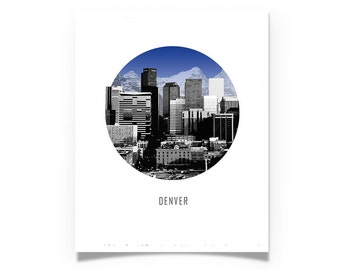 Denver Colorado Circle City Skyline - Denver art - Choose your Color - Wall Art - Souvenir - Wedding Gift - Print
