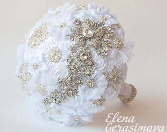 SALE!!! Brooch Bouquet. white Fabric Bouquet, Unique Wedding Bridal Bouquet