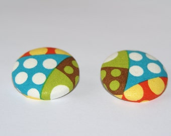 Fabric Covered Button Earrings- Dots