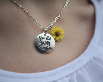You Are My Sunshine Necklace, Yellow Sunflower, Gift For Daughter