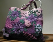 Pink and Purple Needle Felted Purse with Flower Design
