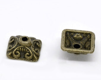 SALE Bronze Bead Caps - Antique Bronze - Square - Fits 9 - 14mm Beads - 10x10mm - 10pcs - Ships IMMEDIATELY from California - B30