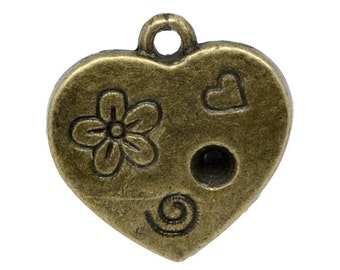 SALE 10 Heart Charms - Holds Rhinestone - 18x17mm Bronze - Ships IMMEDIATELY  from California - BC261