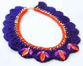 Embellished Crochet Statement Collar Necklace, Navy and Orange